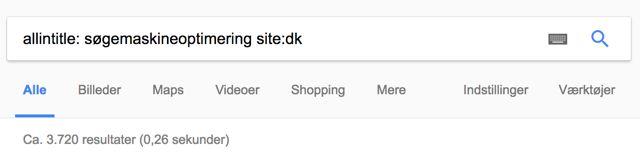 Allintitle-søgning på Søgemaskineoptimering